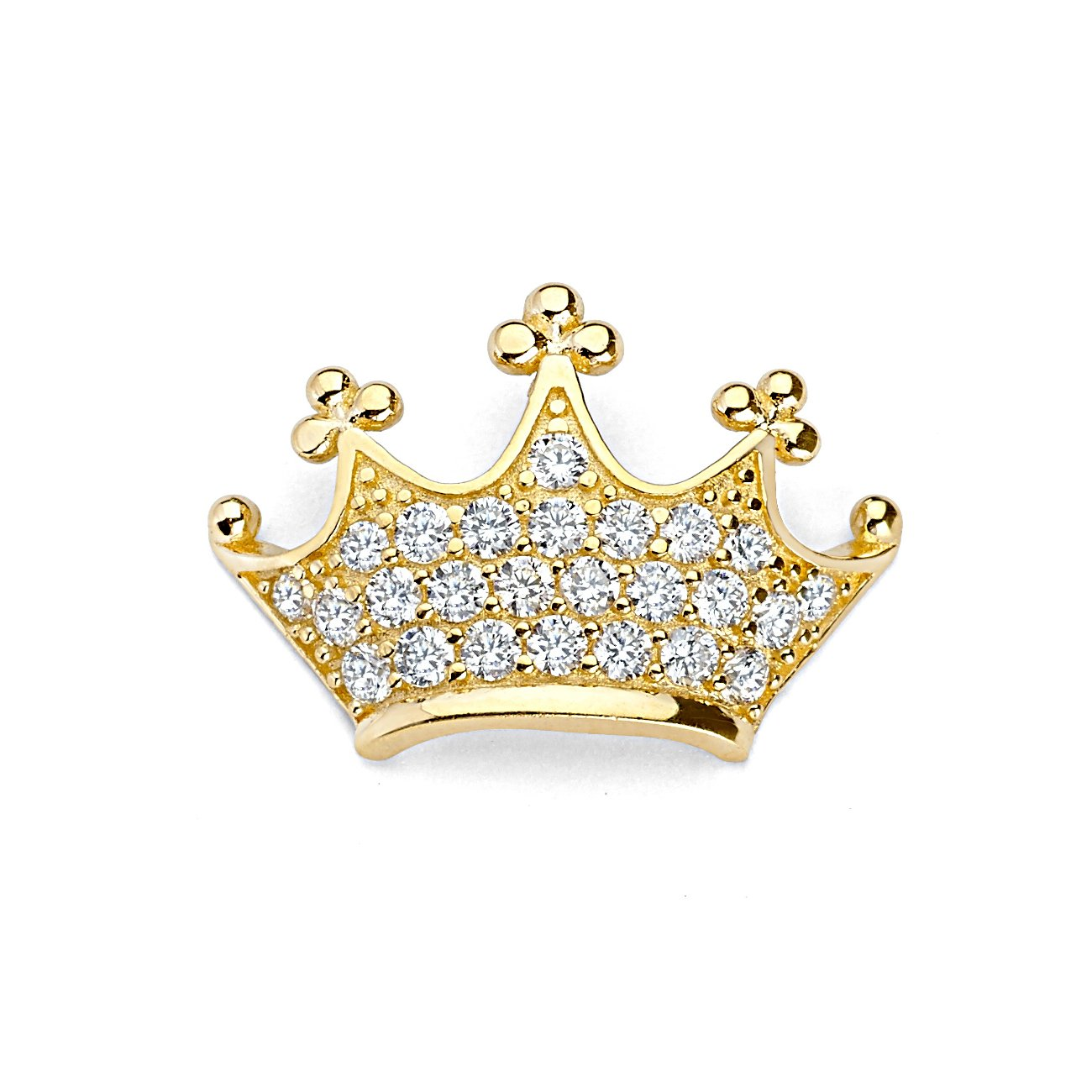 14k Yellow Gold Crown Charm Pendant with 18 Rolo Chain 20mm x 20mm with Paved White CZ Accents
