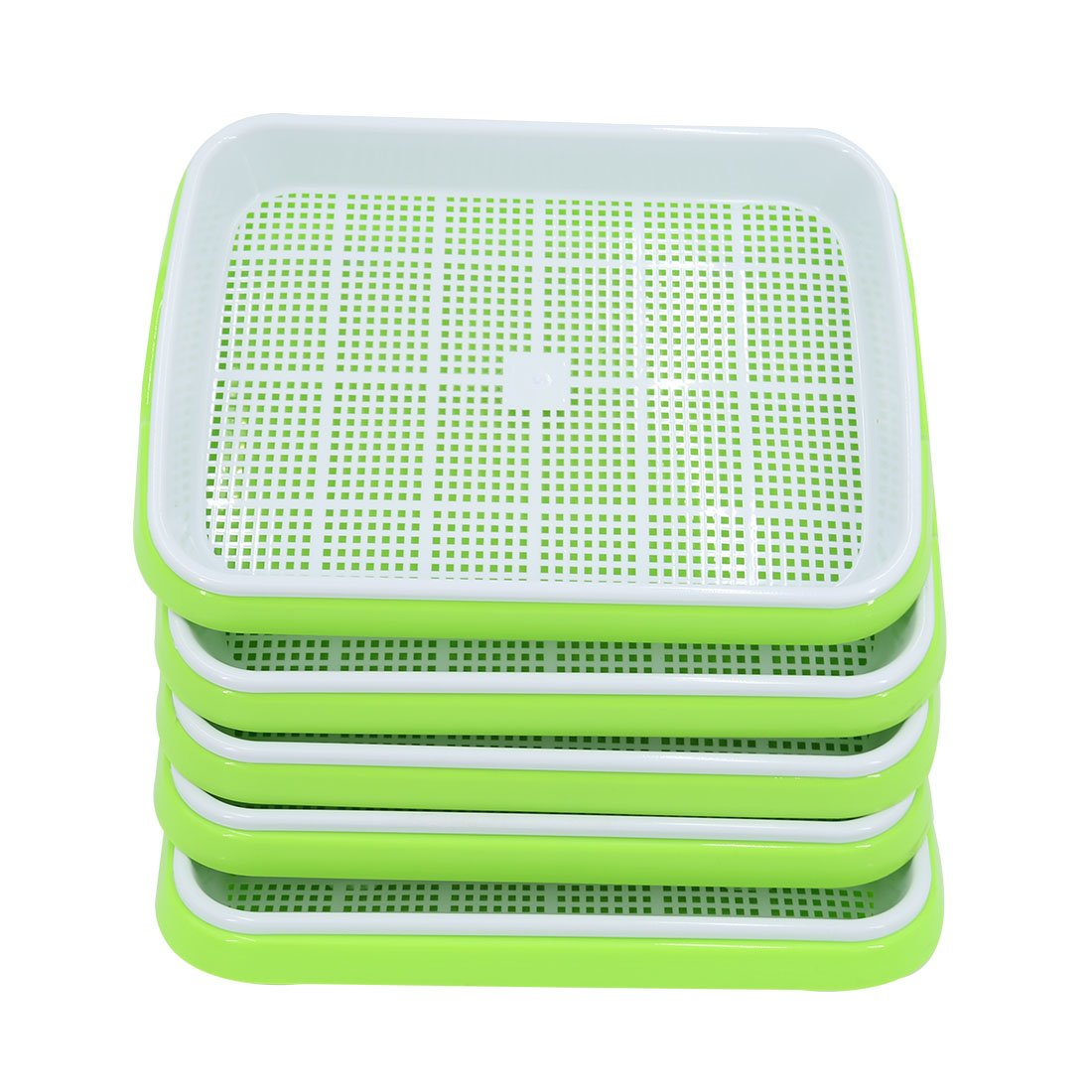 Yamix Seed Sprouter Tray, 5 Set Two-Tiered Seed Sprouter Tray Kitchen Crop Sprouter Plant Germination Tray Hydroponics Basket (Green + White)