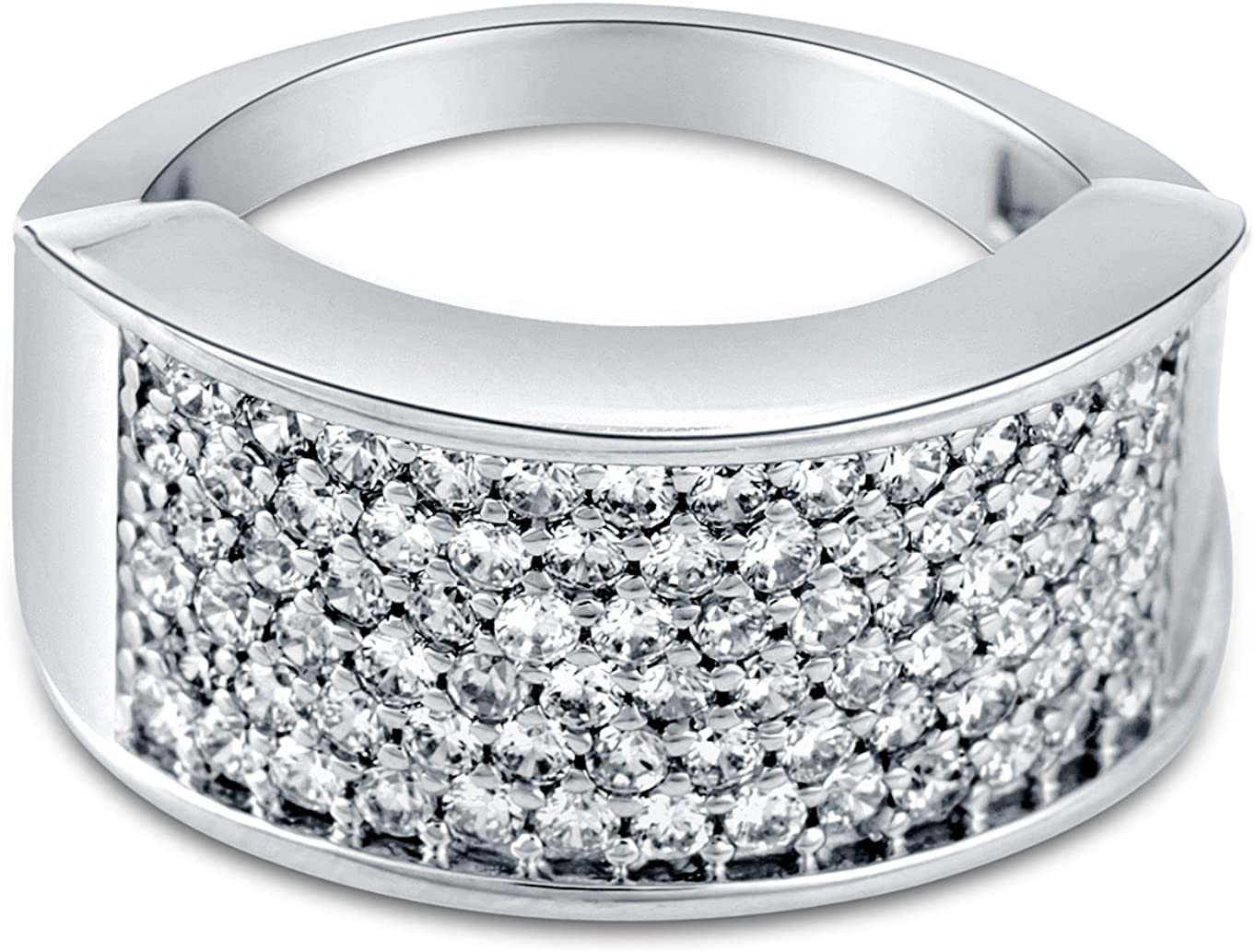 Princess Kylie Micro Pave Set Clear Cubic Zirconia Rectangular Ring Sterling Silver Size 9