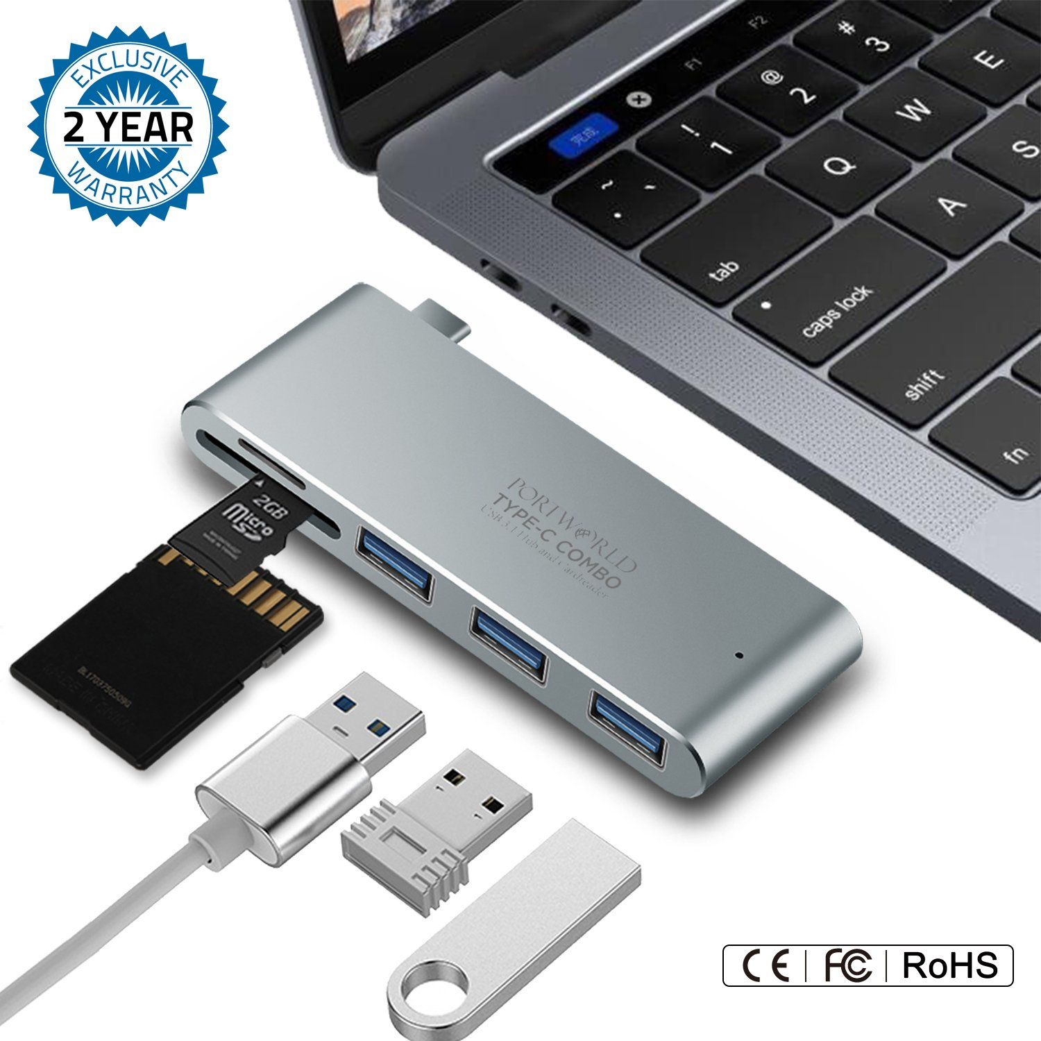 USB C HUB,Premium Type USB C Adapter with 3x 3.0 Ports & SD/MicroSD Card Reader – Ideal For Macbook, ChromeBook & Other Type C Devices–Sturdy Construction & Sleek Design – Super Fast Transfer Speed