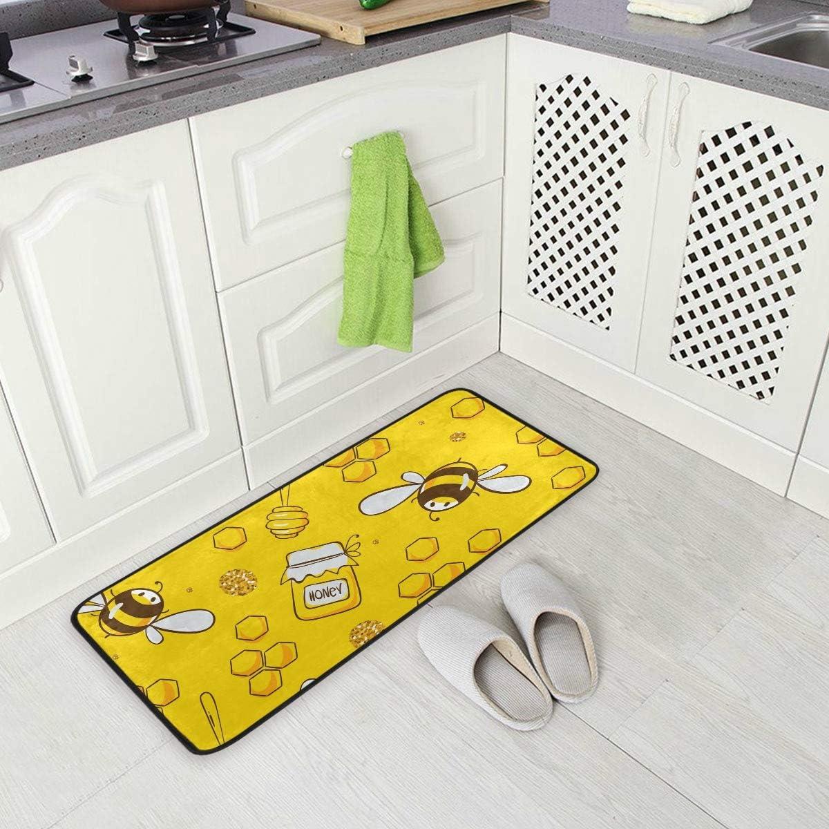 Amazon.com Kitchen Rugs Runner Flying Bee Honey Sweet Yellow ...