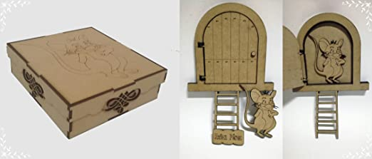 Caja + Kit puerta de madera DM Ratón Pérez: Amazon.es: Hogar