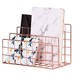 Simmer Stone Desktop Letter Sorter, Organizer for Mails Books Files Brochures Postcards Makeups and More, 3 Slot, Rose Gold