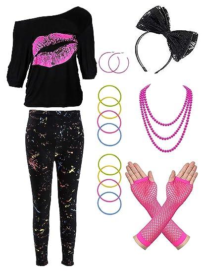 80s Costume Accessories Set T-Shirt Tutu Headband Earring Necklace Leg Warmers