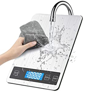 BILLKAQ Digital Kitchen Scale Food Scale, Stainless Electric Cooking Scales Electronic| 15kg/33lb Premium Weighing Scales with LED Display,Tare and PCS Features,for Kitchen,Ingredients,Jewellery,Drug
