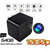 Hidden Spy Camera - 64GB SDcard Included, USB Wall Charger | 1080P HD Video |