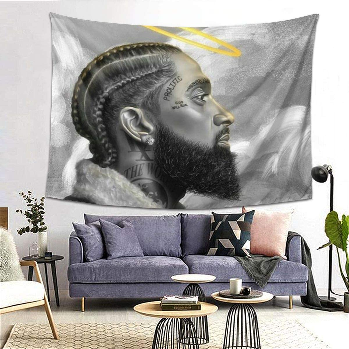 NIPSEY HUS-SLE Rest In Peace Legend Tapestry Wall Hanging Tapestries 3D Printing Blanket Wall Art For Living Room Bedroom Home Decor 80x60in