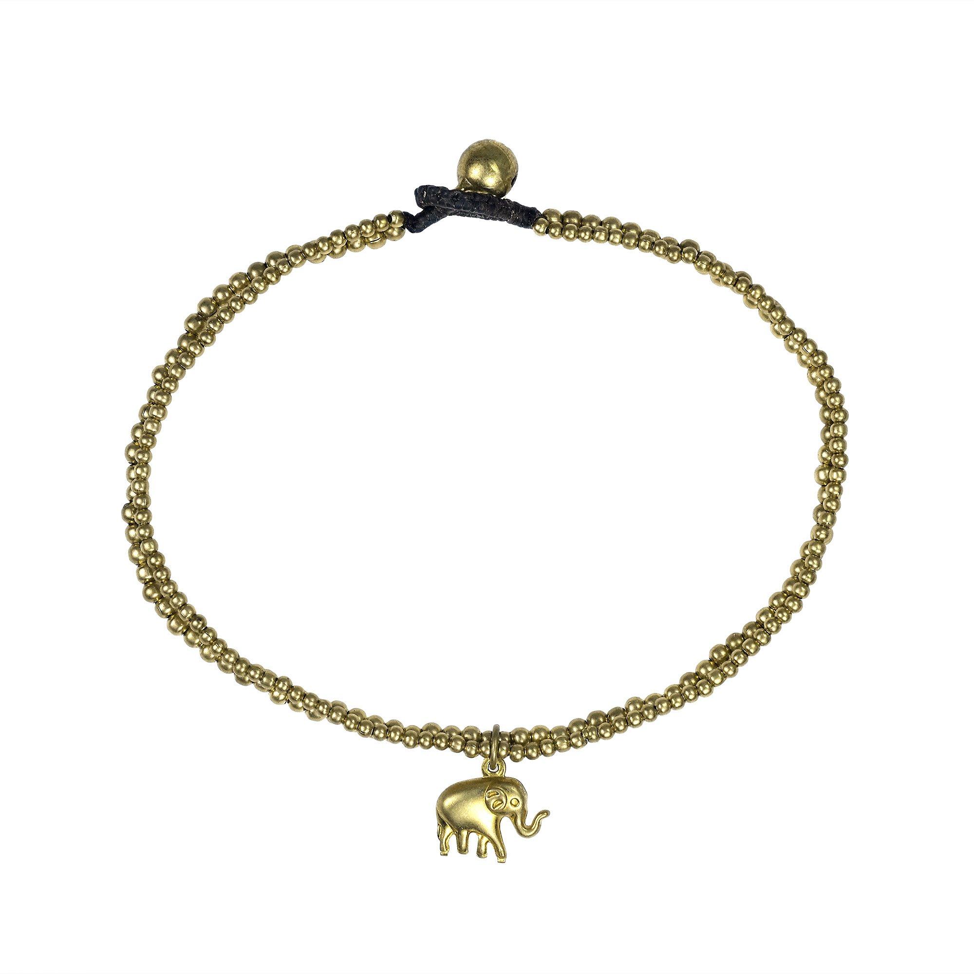 AeraVida Tribal Thai Elephant Brass Beads Link Ankle Bracelet