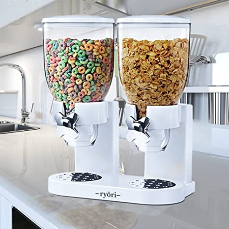 Ryori Kitchen - Dispensador de cereales y alimentos secos, de plástico transparente que mantienen la