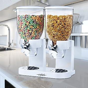 Ryori Kitchen - Dispensador de cereales y alimentos secos, de plástico transparente que mantienen la comida fresca, perfecto para controlar las porciones, ...