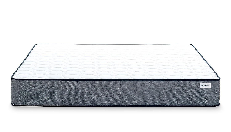 Spongey Lujo y Memoria de Espuma de látex Natural colchón de Espuma con Efecto - Blanco/Gris Todos los tamaños 5 ft 6 ft 4 ft6, Espuma con Efecto Memoria, ...