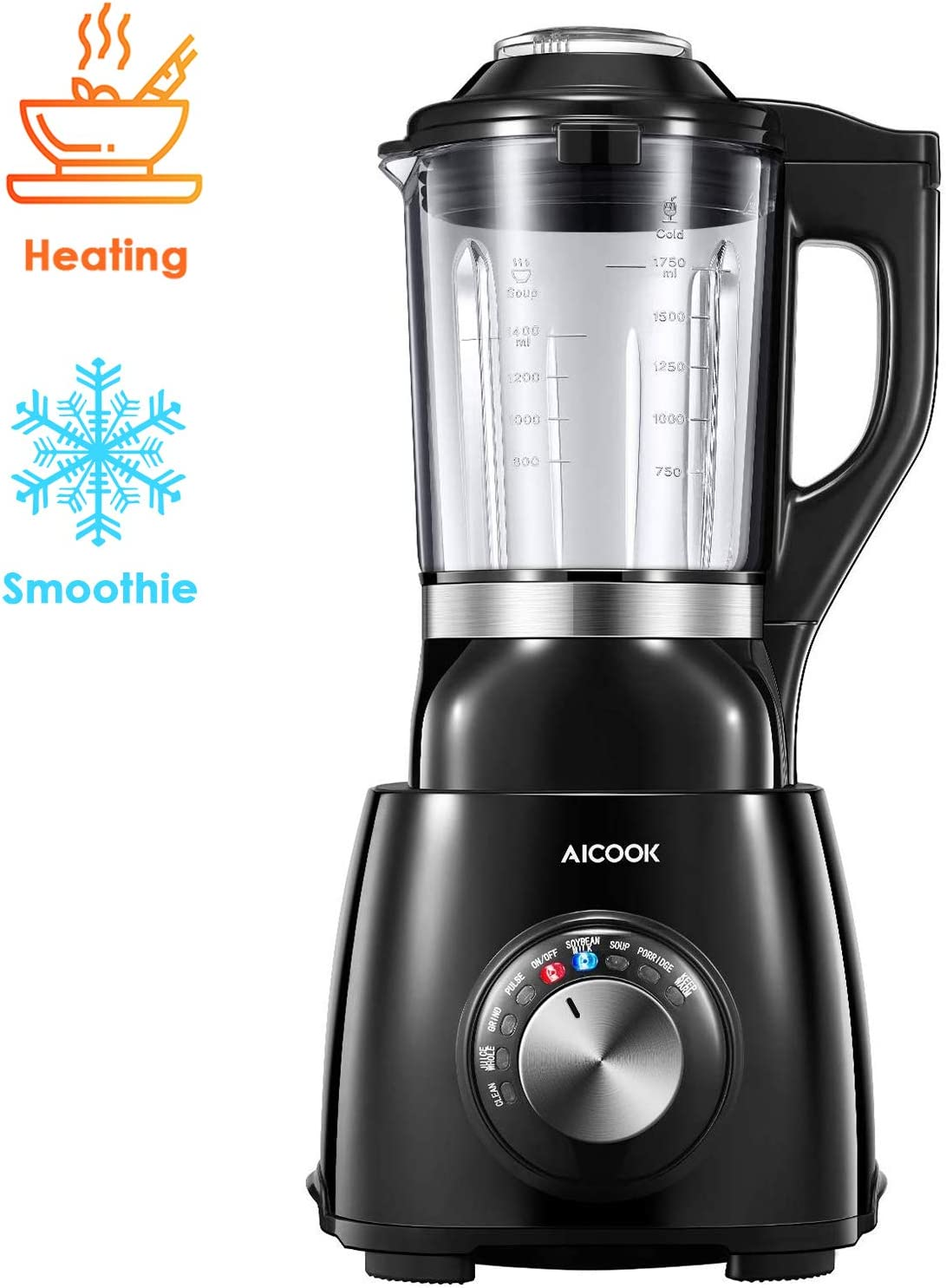 AICOOK Blender, Cold & Hot Cook Hot Soups, Sauces and Dips Professoinal Blender with 1400 Peak Watts to Crush Frozen Drinks & Smoothies Nonstick Glass Pitcher (HB152), 60 oz