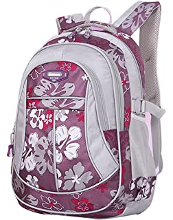 9f54dd3cfcf0 SellerFun Girl Flower Printed Primary Junior High University School Bag  Bookbag Backpack(Purple