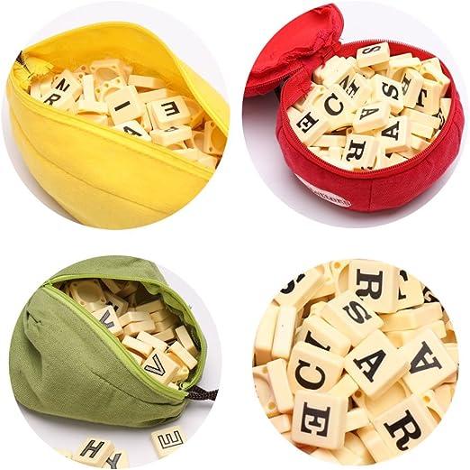 Sylvia QEr Puzzle Juego de ortografía, juegos de palabras inglés, letras del alfabeto, juego de ortografía para aprender a ortografía, juguetes para niños, niños, Pear Shape: Amazon.es: Deportes y aire libre