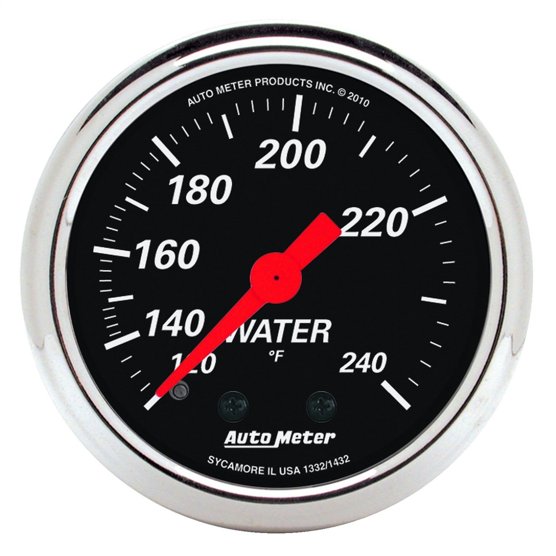 Auto Meter 1432 Designer Black Mechanical Water Temperature Gauge