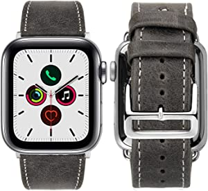 iBazal Compatible Apple Watch Band 42mm 44mm,[Vintage Style] Genuine Leather Bands with Stainless Steel Clasp Buckle Replacement for 42mm 44mm iWatch Series 5/4/3/2/1 - Gray 42mm
