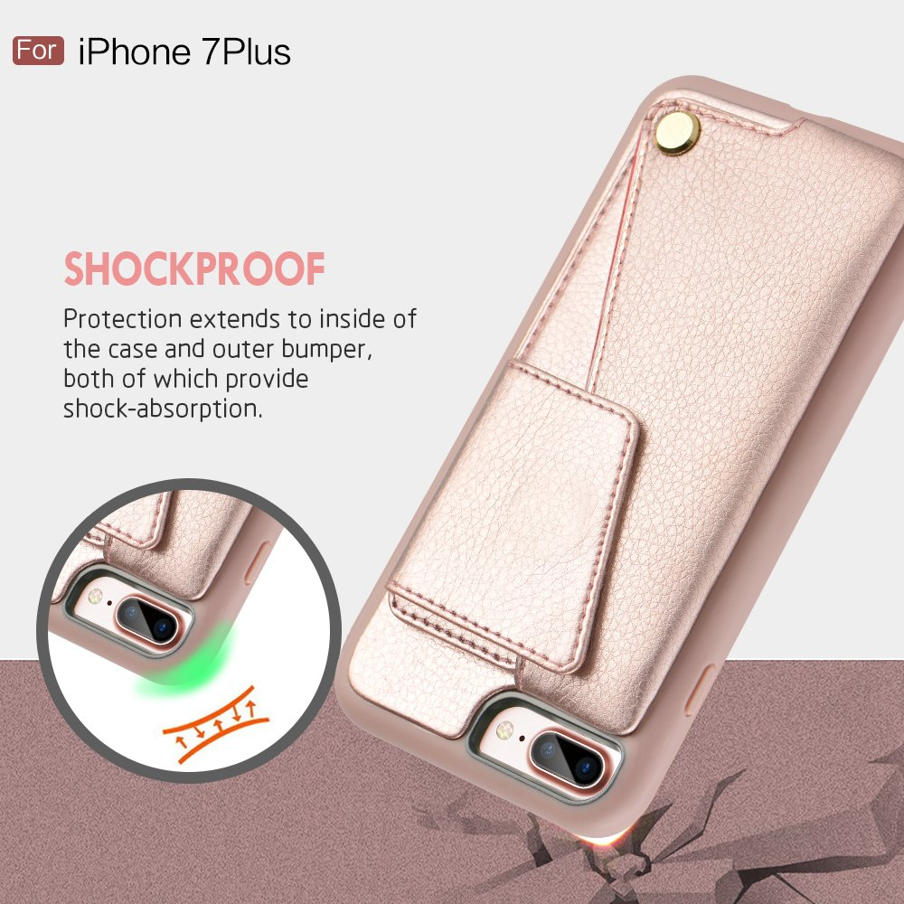 iPhone 8 Plus Wallet Case, ZVEdeng iPhone 7 Plus Card Holder Case, Protective Shockproof Leather Wallet Case with Card Holder for Apple iPhone 8 Plus (2017)/iPhone 7 Plus (2016) - Rose Gold … by ZVEdeng (Image #9)