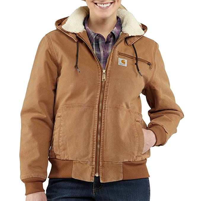 Carhartt Womens 100815 Womens Weathered Duck Jacket-Sherpa Lined