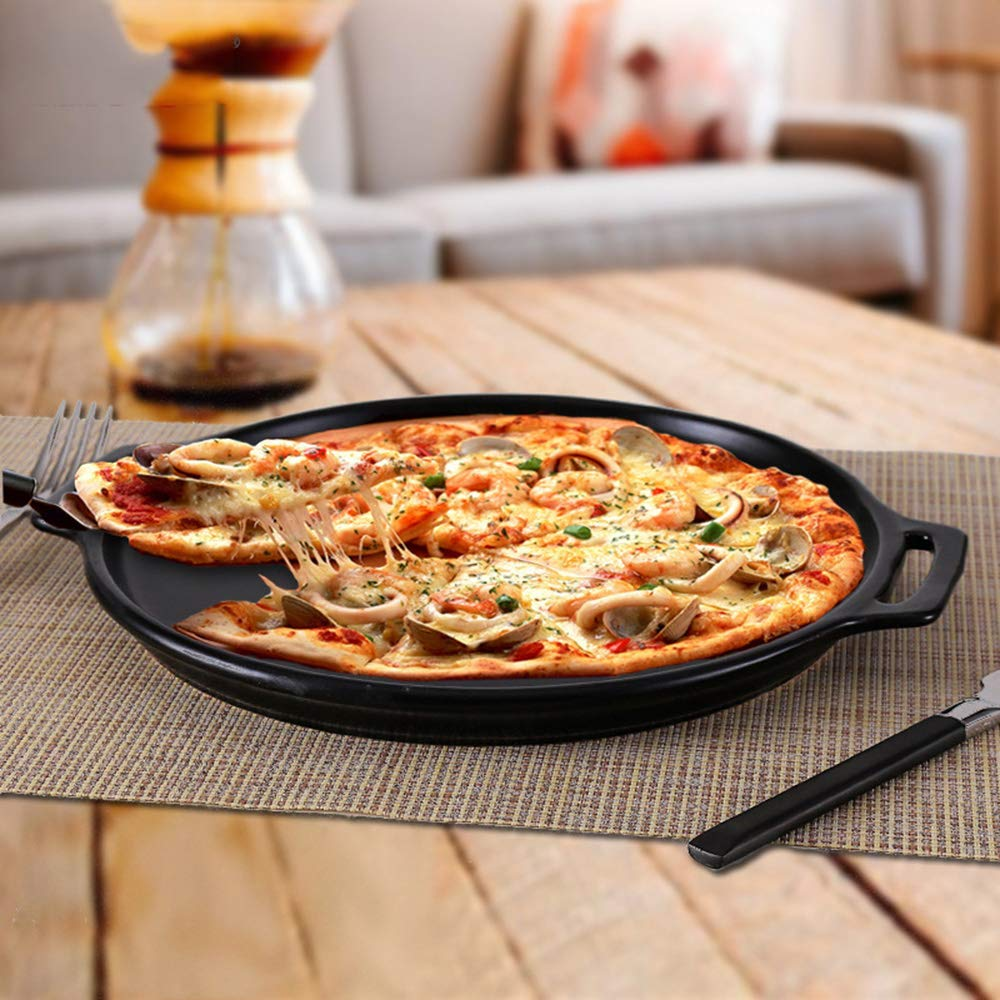 Casserole, pan made of ceramics   steak pizza baking tray   suitable for induction   diameter 29 2.5cm round, uncoated pot heat resistant 800 ° C,322.5CM by DOKJ (Image #3)
