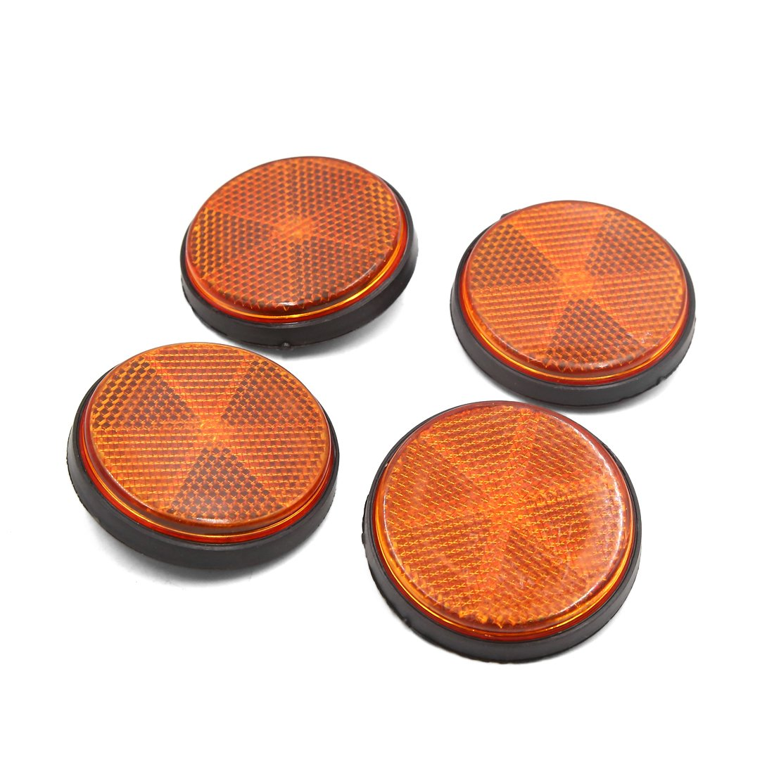 Sourcingmap 4pcs 6mm Thread Dia Round Type Reflective Warning Film for Motorcycle Amber a18040200ux0087