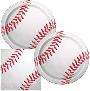 JJ Collections Baseball Themed Birthday Party Napkins and Plates