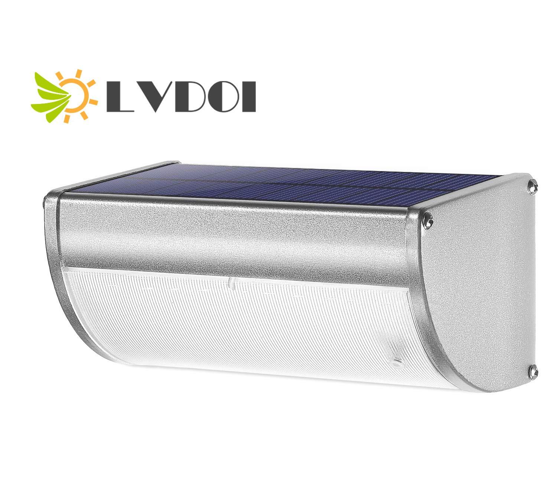 LVDOI 36 Luci Solari a LED per Esterni,360/°Radar Sensore di Movimento Luci di Sicurezza Custodia in Lega di Alluminio IP65 Applique da Parete Impermeabile per Porta dingresso,Cortile,Portico