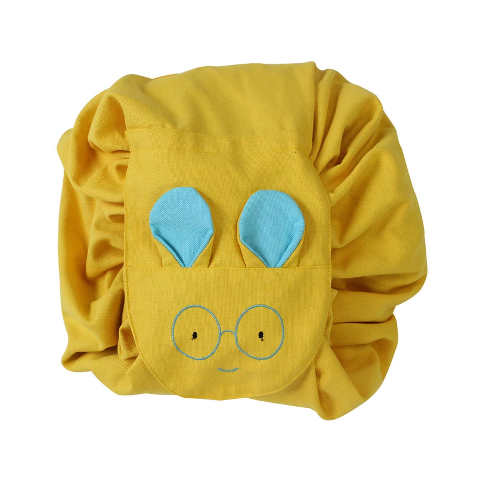 MZS Tec Kids Toys Storage Bag, Foldable Drawstring Plush Animal Stuffed Toys Bag Home Organizer Bulk Accessories (L, A Yellow)