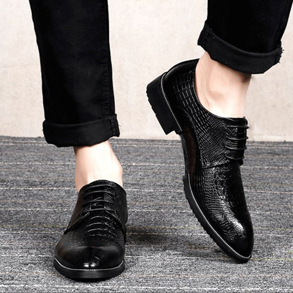 Black XIANGBAO-Personality Fashion Men's Genuine Leather shoes Crocodile Skin Texture Upper Lace Up Breathable Business Lined Oxfords