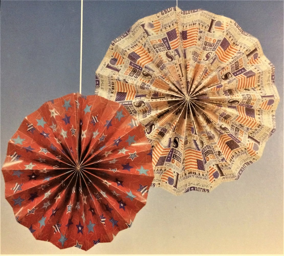 Patriotic Hanging Paper Fan Decorations, 14'' and 10'', 6-pc Set by Greenbrier (Image #2)
