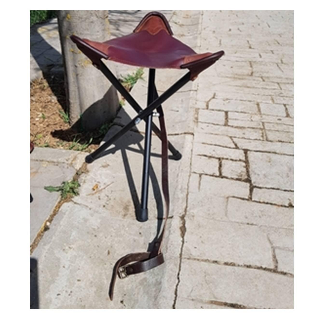 CAZA Y AVENTURA Silla para Cazar, asiento en cuero de 70 cm