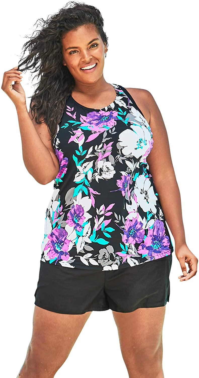 Swimsuits For All Womens Plus Size Longer Length Tankini Top