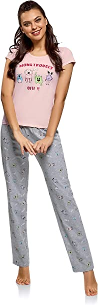 oodji Ultra Mujer Pijama de Algodón con Pantalones, Rosa, ES 42 / L: Amazon.es: Ropa y accesorios