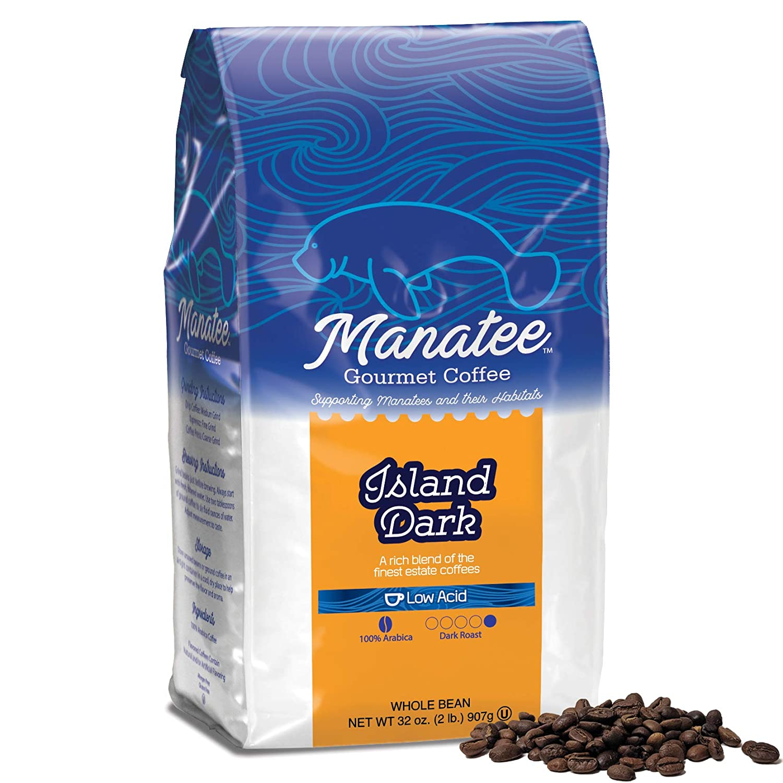 Manatee Whole Bean Coffee Island Dark Roast 2 Pound