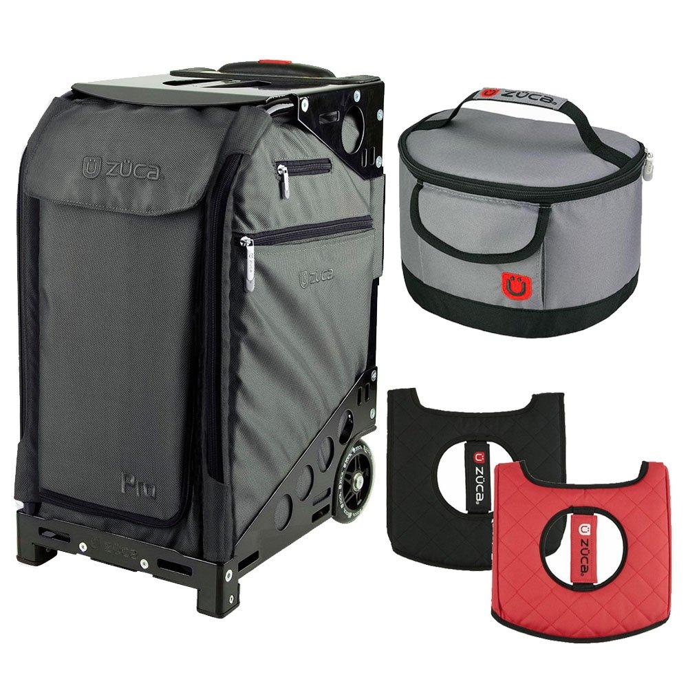 Zuca Graphite Gray Pro Travel Case w. Black Frame,Flashing Wheels, Gift Seat Cushion & Lunchbox