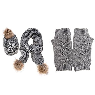 Jelinda Femmes Automne Hiver Tricot Chapeau Gant et Écharpe (gris ... 1bf5ade34a3