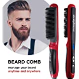 Enhanced Ionic Beard Straightener Comb, Hair Straightening Brush Instant Styling Comb for men - Curling and Straightening All Kinds of Hair with Fast Heat