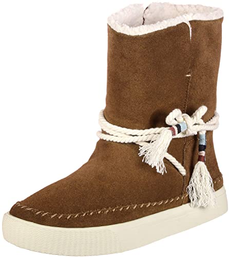 168495ef48c TOMS Women s Vista Water-Resistant Boot Dark Amber Suede Faux Shearling 5  ...