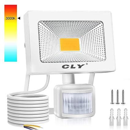 Foco LED Exterior Luz Cálida 3000K, 20W Focos LED Sensor Movimiento Exterior Impermeable,1800LM