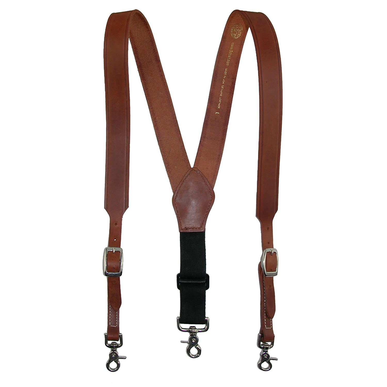 3 D Belt Company Men's Leather Weathered Suspender with Metal Swivel Hook Ends S511LG