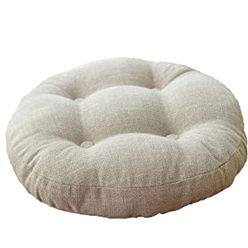 VClife Ivory Round Chair Pad Indoor Outdoor Bistro Chair Cushion Decorative  Decor Cotton Linen Floor Pillows