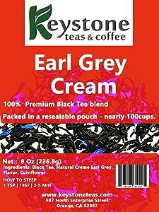 Earl Grey Cream - Loose Leaf Tea, Natural Ingredients: Assam Black tea, Corn flower and natural Earl grey cream flavor-8 Oz (80 Cups) (8 Oz)