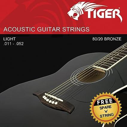 Tiger - Cuerdas para guitarra acústica, muy ligeras (.011-.052)
