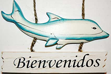 Amazon.com: Dolphin Sign Cartel Bienvenidos Plaque: Home ...