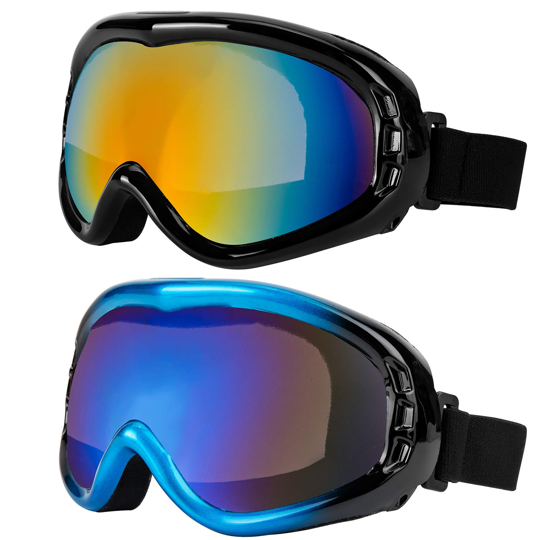 LJDJ スキーゴーグル 2個パック スノーボード 調節可能 UV 400 保護オートバイゴーグル アウトドアスポーツ タクティカルグラス 防塵 戦闘 ミリタリーサングラス 子供 男の子 女の子 若者 男性 女性 黒 + 青