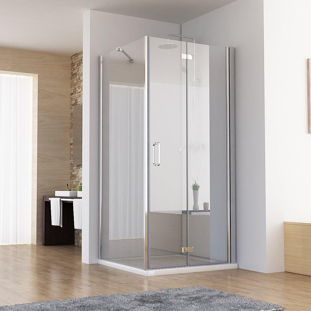 100 x 70 x 197 cm Duschkabine Eckeinstieg Dusche Falttür Duschwand mit Duschtasse Duschwanne