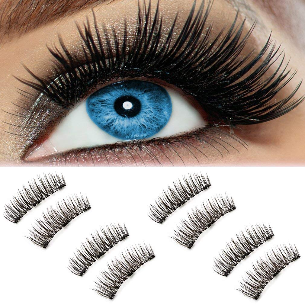 05144581b12 Amazon.com : 3D Natural Magnetic Fake Eyelashes, Beatife Reusable &  Handmade Three Magnets Fluffy Long Soft False lashes Extension, Lightweight  and No ...