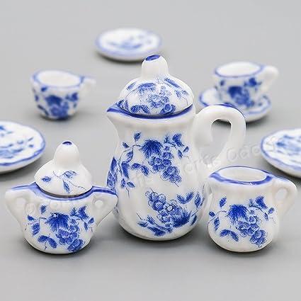 A set 15 pc of 1:12 Dollhouse Miniature Tea Set// Miniature plates B35-11