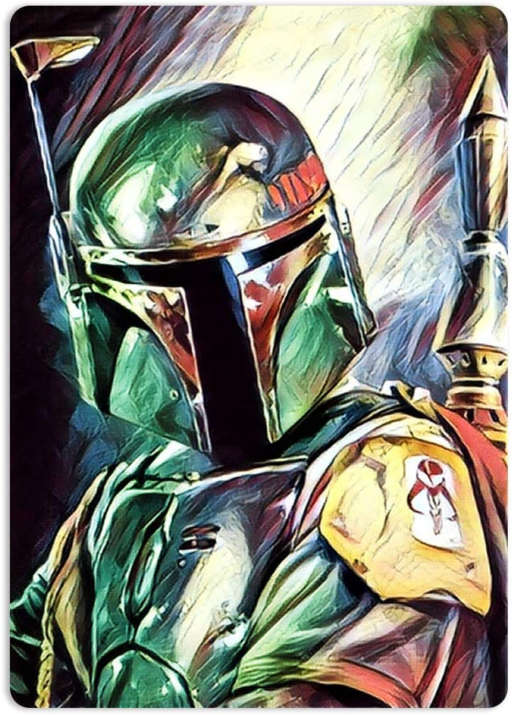 Painted Boba Fett Tin Signs Metal Poster Warning Sign Decor for Garage Home Garden Retro Tin Sign Wall Birthday Party Bar Cafe Kitchen