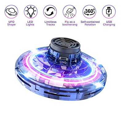 Flying Toy, Hand Operated Drones for Kids or Adults - Scoot Hands Free Mini UFO Drone Helicopter with 360° Rotating and Shinning LED Lights, Novelty Toy Boomerang Gift for Kids or Friends. (Blue): Toys & Games