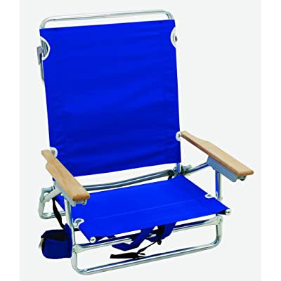 "Rio Brands 5 Position Classic Lay Flat Beach Chair with Backpack Straps, Blue, 8.5"" : Sports & Outdoors"